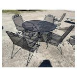 5 PIECE IRON TABLE AND CHAIRS