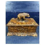 LARGE CARVED HEAVY RESIN BEAR BOX WITH LID