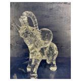 LARGE CRYSTAL ELEPHANT TRUNK UP FIGURINE
