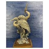 LARGE POLY RESIN DOUBLE STORK FIGURINE ON STAND