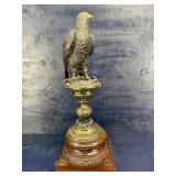 LARGE BRONZE HAWK ON STAND SIGNED