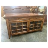 CHERRY TELEVISION STAND WITH GLASS DOORS AND