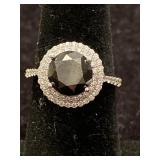 14K BLACK DIAMOND AND WHITE DIAMOND RING