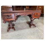 PLUME CARVED CHIPPENDALE DOUBLE PEDESTAL VANITY