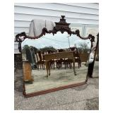 ORNATE MAHOGANY ETCHED MIRROR