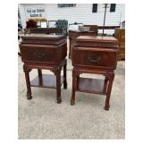 PR OF MAHOGANY CHIPPENALE NIGHTSTANDS