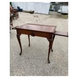 SOLID CHERRY SHELL CARVED TEA TABLE