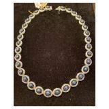 SILVER  DIAMOND AND BLUE STAR SAPPHIRE NECKLACE