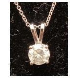 14K CUSTOM DIAMOND SOLITAIRE PENDANT AND CHAIN