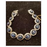 SILVER DIAMOND AND BLUE STAR SAPPHIRE BRACELET