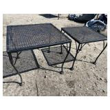 2 IRON OUTDOOR SIDE TABLES