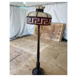 MAHOGANY LEAF CARVED LEADED GLASS FLOOR LAMP