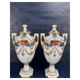 TALL CHELSEA HOUSE GOLD GUILD PAINTED URNS PAIR
