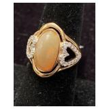 .925 SILVER OPAL AND DIAMOND RING