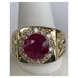 14K GOLD UNISEX MANS 3.98 DIAMOND RUBY RING