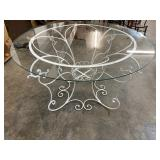 FANCY GLASS AND IRON TABLE
