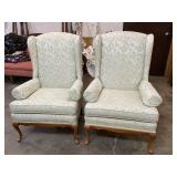 PAIR OF QUEEN ANNE WINGBACK CHAIRS