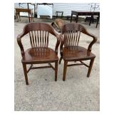 PR OF ANTIQUE OFFICE CHAIRS
