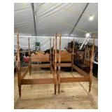 PR OF CHERRY BENCH MADE TALL POST BEDS W CANOPYS