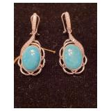 .925 SILVER TURQUOISE AND DIAMOND EARRINGS
