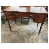 SOLID MAHOGANY DESK WITH TWISTED LEGS