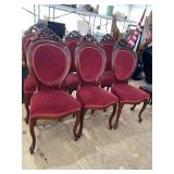 SET OF 6 CHERRY CARVED BALLOON BACK CHAIRS