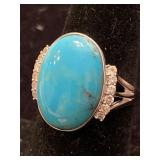 .925 SILVER TURQUOISE AND DIAMOND RING