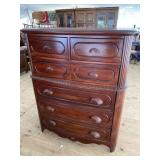 CARVED CHERRY CHEST ON CHEST