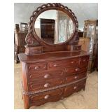 LARGE CHERRY CARVED DRESSER WITH MIRROR