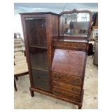 MAHOGANY INLAID SIDE BY SIDE BOOKCASE DESK