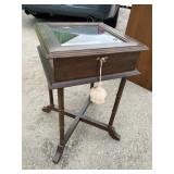 CHERRY SHADOWBOX SIDE TABLE WITH KEY