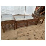 SET OF 3 BAMBOO AND WICKER GLASS TOP TABLES