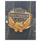 STAINLESS STEEL AND 10K HARLEY DAVIDSON RING