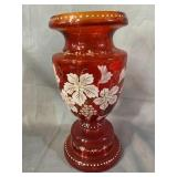 RED HAND BLOWN PAINT DECORATED VASE