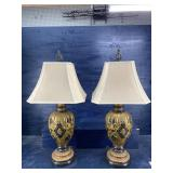 MID CENTURY CERAMIC TALL LAMPS WITH SHADES