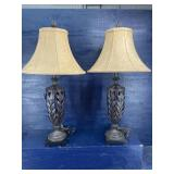 METAL LEAF DESIGN TALL TABLE LAMPS& SHADES