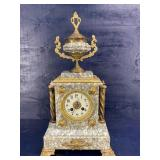 TALL ANTIQUE FRENCH MARBLE MANTLE CLOCK RUNNING