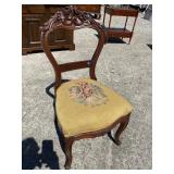 WALNUT CARVED VICTORIAN NEEDLEPOINT CHAIR