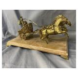 BRASS CHARIOT ON MARBLE BASE