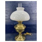 BRASS CONVERTED OIL LAMP WITH SHADE