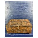 VERY NICE METAL BEADED WOOD DECORATOR BOX