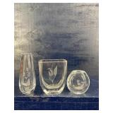 3 PIECES OF ETCHED SWEDISH ART GLASS
