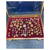 NICE LOT OF ANTIQUE BUTTONS AND MEDALLIONS