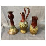 3 pc NC POTTERY LOT SIGNED RAY