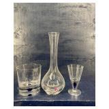 3 PIECE ORREFORS SET VASE TUMBLER GLASS