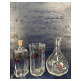 3 PIECE HAND PAINTED ORREFORS CRYSTAL LOT