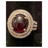 GOLD OVER SILVER CABOCHON RUBY AND WHITE TOPAZ