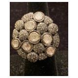 925 SILVER DIAMOND RING, ANODIZED FINISH