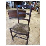 EARLY COUNTRY FRENCH CARVED RUSH BOTTOM CHAIR