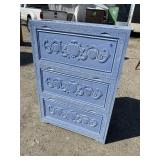 PAINT DECORATED CARVED SHOE CABINET